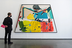"""© Licensed to London News Pictures. 06/10/2021. LONDON, UK. """"Drift, N1"""", 1985, by Hervé Télémaque. Preview of 'A Hopscotch of the Mind' by Hervé Télémaque at the Serpentine Gallery.  It is the Haitian-French artist's first exhibition in the UK with works from the late 1950s until the present day which describe racism, imperialism and colonialism.  The show runs 7 October 2021 to 30 January 2022.  Photo credit: Stephen Chung/LNP"""