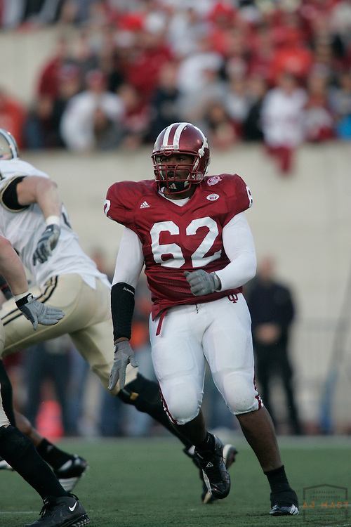 17 November 2007: Indiana defensive tackle Greg Brown (62) as the Indiana Hoosiers played the Purude Boilermakers in a college football game in Bloomington, Ind. Indiana won 27-24.