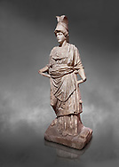 Roman statue of Athena. Marble. Perge. 2nd century AD. Inv no . Antalya Archaeology Museum; Turkey.  Against a grey background .<br /> <br /> If you prefer to buy from our ALAMY STOCK LIBRARY page at https://www.alamy.com/portfolio/paul-williams-funkystock/greco-roman-sculptures.html . Type -    Antalya     - into LOWER SEARCH WITHIN GALLERY box - Refine search by adding a subject, place, background colour, museum etc.<br /> <br /> Visit our ROMAN WORLD PHOTO COLLECTIONS for more photos to download or buy as wall art prints https://funkystock.photoshelter.com/gallery-collection/The-Romans-Art-Artefacts-Antiquities-Historic-Sites-Pictures-Images/C0000r2uLJJo9_s0