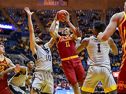 Mar 6, 2019; Morgantown, WV, USA; Iowa State Cyclones guard Talen Horton-Tucker (11) shoots in the lane during the first half against the West Virginia Mountaineers at WVU Coliseum. Mandatory Credit: Ben Queen-USA TODAY Sports