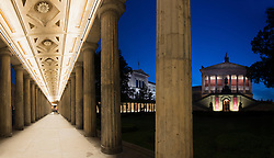 Night view of Neues Museum on left and Alte Nationagalerie museum on Museumsinsel or Museum Island in Berlin Germany