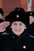 Kronstadt, Russia, 21/02/2004..11 year old Ivan Mishukov is a student at the Naval Kadetskii Korpus, the school of the elite Kronstadt Naval Academy. Abandoned by his alcoholic parents at the age of 3, Ivan lived for 2 years with a pack of wild dogs in his home town of Reutov before being rescued by police and taken to a children's home; he was subsequently adopted by Tatiana Bababina..Ivan on parade with his classmates.
