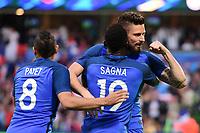 joie des joueurs francais apres le but de Olivier Giroud (France)