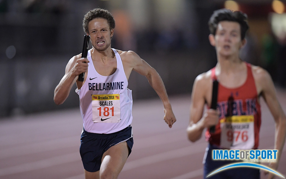 Alex Scales (181) runs the  anchor leg on the Bellarmine 4 x 1,600m relay that placed second in 17:29.92 during the 51st Arcadia Invitational in Arcadia, Calif., Friday, April 6, 2018.