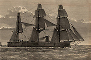 Steam ship 'Deutschland' which was wrecked on the sandbank off the Thames Estuary known as the Kentish Knock during a storm on the night of 6th to 7th December 1875.  Among those on board who were lost were five Franciscan nuns, refugees from Germany's anti-Catholic Falk Laws. The English Jesuit poet Gerard commemorated the event in his poem 'The Wreck of the Deutschland' (1876).