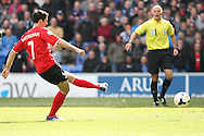 Peter Whittingham of Cardiff city scores his side's first goal from the penalty spot to make it 1-1. Barclays Premier league match, Cardiff city  v Stoke city at the Cardiff city stadium in Cardiff, South Wales on Saturday 19th April 2014. pic by Mark Hawkins, Andrew Orchard sports photography,