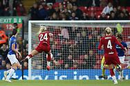Liverpool women forward Kirsty Linnett (24) shoots at goal during the FA Women's Super League match between Liverpool Women and Everton Women at Anfield, Liverpool, England on 17 November 2019.