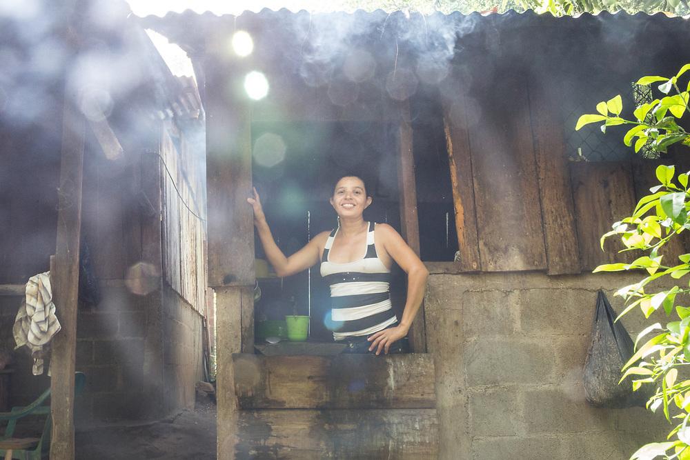 Maritza Chavería in her kitchen at home on the El Manantial farm, San Benito, Jinotega.