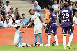 August 10, 2018 - Marseille, France - 10 DIMITRI PAYET (OM) - 02 HIROKI SAKAI (OM) - FAIR PLAY - Ruddy BUQUET  (Credit Image: © Panoramic via ZUMA Press)