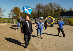 Alex Salmond Launches Alba Party Candidates, 21 April 2021<br /> <br /> The new ALBA Party launched its Central Scotland candidates at an event at the Falkirk Wheel today.<br /> <br /> Pictured: Alex Salmond, Alba Party Leader and former First Minister of Scotland with supporters arrive at the Falkirk Wheel<br /> <br /> Alex Todd | Edinburgh Elite Media