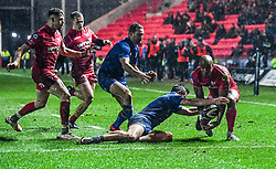 Scarlets' Tom Varndell is tackled by Leinster's Dave Kearney<br /> <br /> Photographer Craig Thomas/Replay Images<br /> <br /> Guinness PRO14 Round 17 - Scarlets v Leinster - Friday 9th March 2018 - Parc Y Scarlets - Llanelli<br /> <br /> World Copyright © Replay Images . All rights reserved. info@replayimages.co.uk - http://replayimages.co.uk