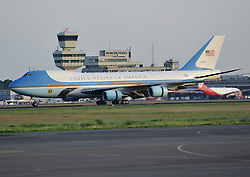 In the picture - Air Force One - (Boeing 747) .<br /> US first lady Michelle Obama, US President Barack Obama and daughters arrive at the military section of Berlin Tegel Airport on June 18, 2013 in Berlin, Germany. Obama is on a two-day visit to Germany where he will give a speech at the Brandenburg Gate, June 18, 2013. Photo by Schneider-Press / John Farr / i-Images. .UK & USA ONLY