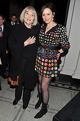 DAME DIANA RIGG and RACHAEL STIRLING at a private view of Photographs by Cecil Beaton celebrating the diamond jubilee of HM The Queen Elizabeth 11 at the Victoria & Albert Museum, Cromwell Road, London on 6th February 2012.