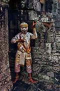 Khmer dancer in Khon (mask), The Bayon, Angkor Thom, Siem Reap, Cambodia