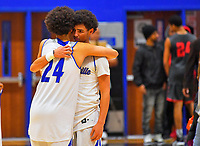 Nolensville Knights Davin Watkins (24) and Jayden Watkins after the Nolensville Knights vs East Nashville Sub-State basketball playoff game at Nolensville High Monday, March 4, 2019.  The Knights ended the season with a 71-56 loss.<br /> Photo Harrison McClary/News & Observer