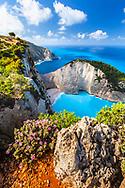 Scenery view to Navagio bay on Zakynthos island