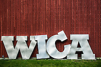 The iconic sign for the Whidbey Island Center for the Arts in Langley, Washington