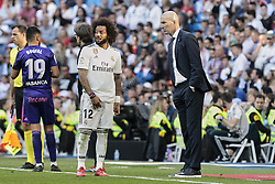 March 16, 2019 - Madrid, Madrid, Spain - Real Madrid's Marcelo Vieira and coach Zinedine Zidane seen having words during La Liga match between Real Madrid and Real Club Celta de Vigo at Santiago Bernabeu Stadium in Madrid, Spain. (Credit Image: © Legan P. Mace/SOPA Images via ZUMA Wire)