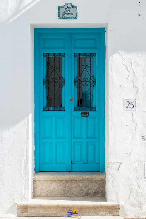 Wooden door at private home in the town of Frigiliana.