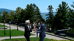 Prime Minister Justin Trudeau greets Managing Director of the International Monetary Fund Christine Lagarde during the official welcoming of the Outreach Countries and International Organizations at the G7 Leaders Summit in La Malbaie, Quebec, on June 9, 2018. Photo by Sean Kilpatrick/CP/ABACAPRESS.COM
