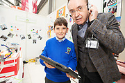 24/11/2019 repro free:Conor O'Grady from Milltown National school with Paul Mee Chairman Galway Science and Technology Festival at the last day of the Galway Science and Technology Festival  at NUI Galway where over 20,000 people attended exhibition stands  from schools to Multinational Companies . Photo:Andrew Downes, xposure