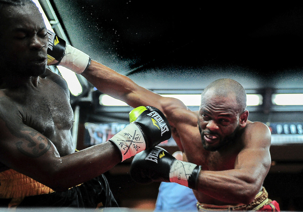 February 21, 2016: Louisbert Altidor (R) of Canada lands a punch on Ottawa's Roody Rene during their bout as part of the Fight Club 18 gala at the Hilton Lac Leamy in Gatineau, Quebec, Canada. (Photo by Steve Kingsman/Icon Sportswire)