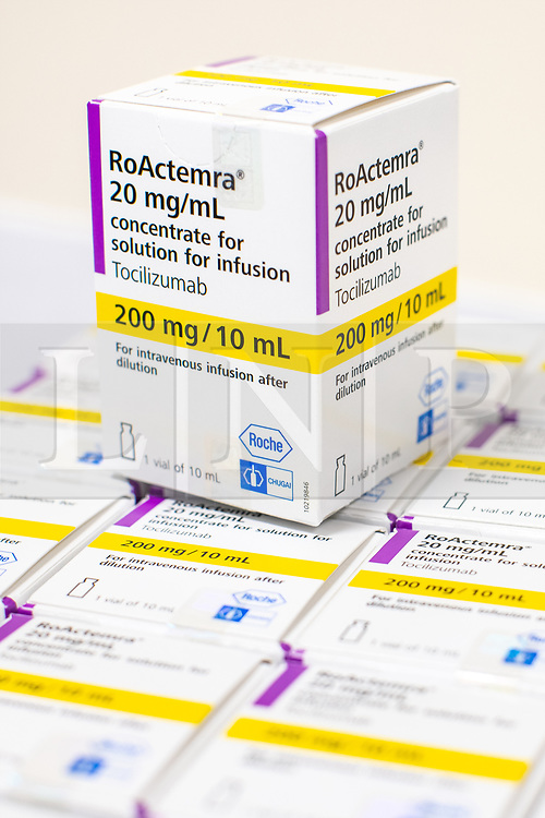© Licensed to London News Pictures . 18/02/2021. Bury , UK .  Supplies of Tocilizumab (also known as Actemra and atlizumabin ) in the hospital's pharmacy . It's been discovered that the drug , historically used to treat rheumatoid arthritis , is effective in combatting Coronavirus in some patients . Inside Fairfield Hospital , where patients are being treated for the effects of Coronavirus . Photo credit : Joel Goodman/LNP