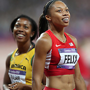 Allyson Felix, USA, (right), winning the Gold Medal in the  Women's 200m Final, with Silver Medal winner Shelly-Ann Fraser-Pryce, Jamaica, (left), at the Olympic Stadium, Olympic Park, during the London 2012 Olympic games. London, UK. 8th August 2012. Photo Tim Clayton