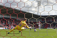 Portsmouth FC goalkeeper Craig MacGillivray (15) saves shot at goal by Doncaster Rovers forward Alfie May (19) during the EFL Sky Bet League 1 match between Doncaster Rovers and Portsmouth at the Keepmoat Stadium, Doncaster, England on 25 August 2018.Photo by Ian Lyall.