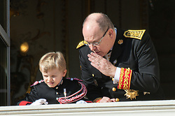 Prince Albert II of Monaco and little Prince Jacques are attending on the balcony during the National Day ceremonies, Monaco Ville (Principality of Monaco), on November 19th, 2019. Photo by Marco Piovanotto/ABACAPRESS.COM