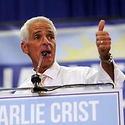 "Democrat Charlie Crist speaks as his  ""Commit to Vote"" rally at the Barnett Park Gymnasium in Orlando, Florida on Friday, Nov. 17, 2014. (AP Photo/Alex Menendez)"