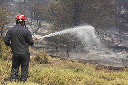 August 15, 2017 - Athens, Greece - Firefighters with the assistance of airplanes and helicopters try to put out the fire. A massive wildfire burns for the third consecutive day at Kalamos and Kapandriti areas, northeastern Attica. (Credit Image: © Nikolas Georgiou via ZUMA Wire)