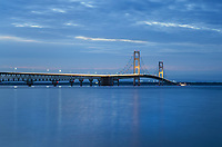 Lights on Mackinac Bridge at twilight, seen from Mackinaw City Michigan
