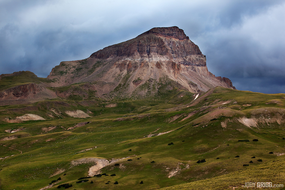 An afternoon storm is brewing around Uncompahgre Peak 14,309ft the highest peak in the San Juan range.