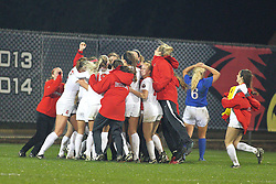 04 November 2016:  Brianne Richards celebrates with her team after scoring the only goal of the game in the first overtime during an NCAA Missouri Valley Conference (MVC) Championship series women's semi-final soccer game between the Indiana State Sycamores and the Illinois State Redbirds on Adelaide Street Field in Normal IL