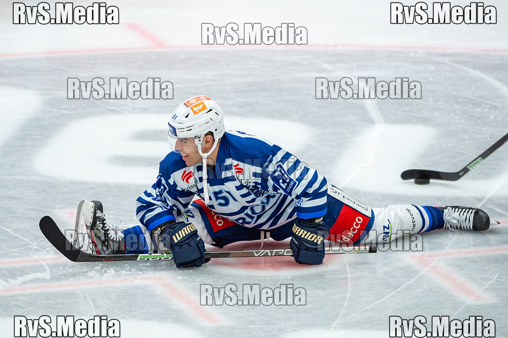 LAUSANNE, SWITZERLAND - OCTOBER 01: Justin Azevedo #51 of ZSC Lions warms up prior the Swiss National League game between Lausanne HC and ZSC Lions at Vaudoise Arena on October 1, 2021 in Lausanne, Switzerland. (Photo by Robert Hradil/RvS.Media)