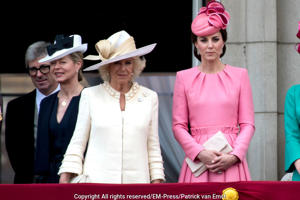 Trooping the Colour is a ceremony performed by regiments of the British and Commonwealth armies and as also marked the official birthday of the British sovereign, Queen Elizabeth.It is held in London annually on a Saturday in June on Horse Guards Parade by St. James's Park<br /> <br /> On the photo:  Camilla Parker Bowles Duchesses of Cornwall  and Catherine Kate Duchess of Cambridge