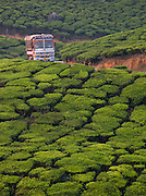 A truck travels along a road in Munnar, a tea plantation hill station in Kerala, India