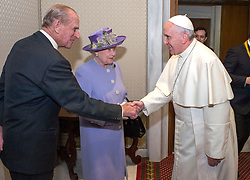 File photo dated 03/04/14 of the Duke of Edinburgh as he shakes hands with Pope Francis while Queen Elizabeth II arrives for a meeting at the Vatican. Prince Philip's final public engagement takes place on Wednesday, before he retires at the age of 96.
