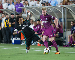 July 26, 2017 - Los Angeles, California, U.S - Marcelo #12 of Real Madrid goes for a take away from Kevin De Bruyne #17 of Manchester City during their International Champions Cup game at the Los Angeles Memorial Coliseum in Los Angeles, California on Wednesday July 26, 2017.  Manchester City defeats Real Madrid, 4-1. (Credit Image: © Prensa Internacional via ZUMA Wire)