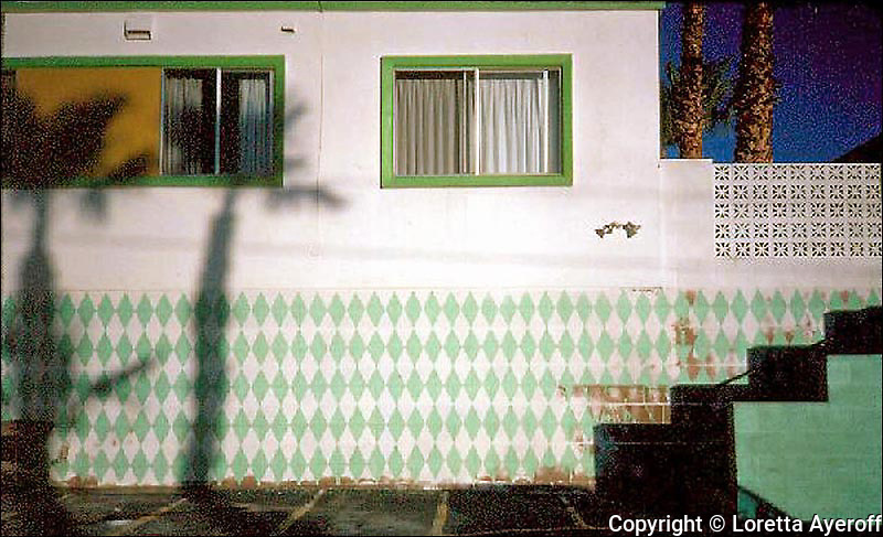 """""""The Motel Series"""" were shot on Kodachrome 64 film, 1981-985, in Desert Hot Springs, CA, while I was working on the """"California Ruins."""" A few have been published and exhibited. Three images, including """"Orange Umbrella"""" are included in the 2012 J. Paul Getty Trust's exhibition """"Pacific Standard Time: Art in Los Angeles, 1945-1980"""" in the Palm Springs Art Museum's PST exhibition """"The Swimming Pool in Southern California Photography, 1945-1982."""" A portfolio of this series is in the permanent collection of PSAM."""