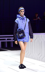 A model on the catwalk during the Anya Hindmarch London Fashion Week SS18 show held at Lindley Hall, London.