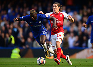 Hector Bellerin of Arsenal catches Tiemoue Bakayoko of Chelsea. Premier league match, Chelsea v Arsenal at Stamford Bridge in London on Sunday 17th September 2017.<br /> pic by Andrew Orchard sports photography.