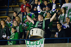 Fans of HDD Tilia Olimpija during of ice-hockey match between Moser Medical Graz 99ers and HDD Tilia Olimpija in 11th Round of EBEL league, on October 14, 2011 at Eisstadion Graz-Liebenau, Graz, Austria. (Photo By Matic Klansek Velej / Sportida)
