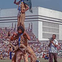 Boy Scouts make a human pyramid  at a stadium in Dhaka, Bangladesh, celebrating thier 1971 independence from Pakistan. 1977 photo