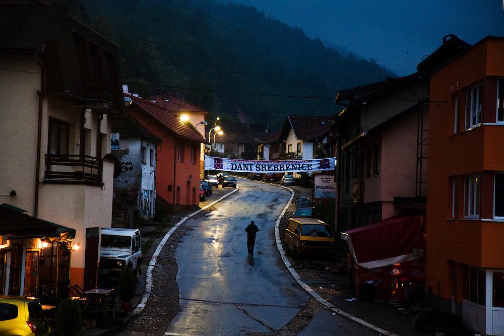The town center of Srebrenica at dusk, with a sign reading 'Srebrenica Days'...Matt Lutton for The International Herald Tribune..Capture of Ratko Mladic. Srebrenica, Bosnia and Herzegovina. May 29, 2011.