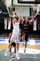 19.08.2011, Stechert Arena, Bamberg, GER, BBL, LS, Supercup 2011, Deutschland (GER) vs Belgien (BEL), im Bild:.Chris Kaman (GER #12) gg Christophe Beghin (BEL #6).// during the Match GER, BBL, LS, Supercup 2011, Deutschland (GER) vs Belgien (BEL) on 2011/08/19, Stechert Arena, Bamberg, Germany..EXPA Pictures © 2011, PhotoCredit: EXPA/ nph/  Will       ****** out of GER / CRO  / BEL ******