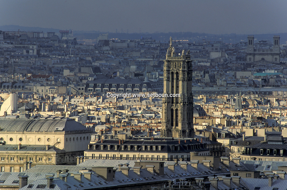 France. Paris. elevated view. view on Paris from Clovis tower (remaining of the old church)