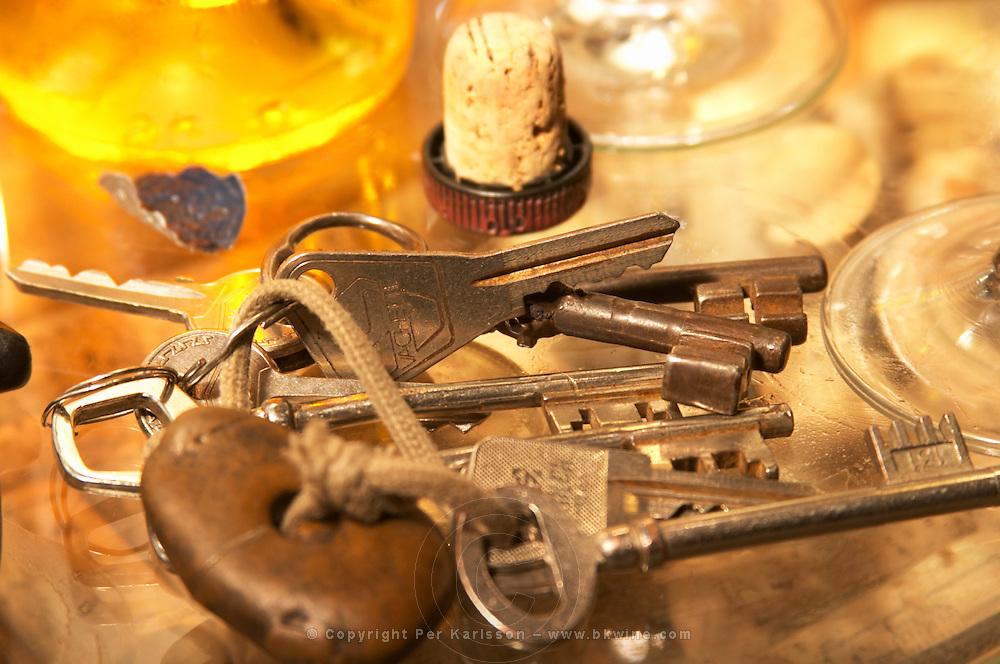 The cellar keys, a bunch of keys on a key ring - Chateau Haut Bergeron, Sauternes, Bordeaux