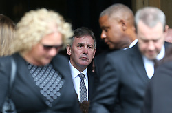 Bryan Robson (centre) walks outside St Luke's and Christ Church, London, where the memorial service for former Chelsea player Ray Wilkins is being held. Wilkins, who began an impressive playing career at Stamford Bridge and also later coached them, died aged 61 following a cardiac arrest.